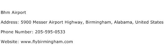 Bhm Airport Address Contact Number
