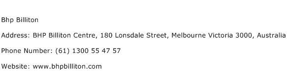Bhp Billiton Address Contact Number
