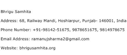 Bhrigu Samhita Address Contact Number