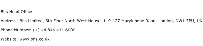 Bhs Head Office Address Contact Number