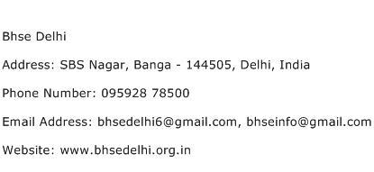 Bhse Delhi Address Contact Number