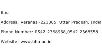 Bhu Address Contact Number