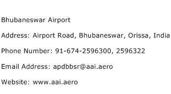 Bhubaneswar Airport Address Contact Number