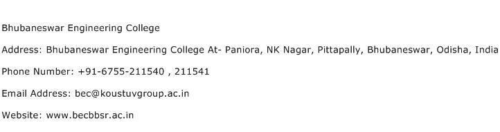 Bhubaneswar Engineering College Address Contact Number