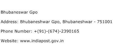 Bhubaneswar Gpo Address Contact Number