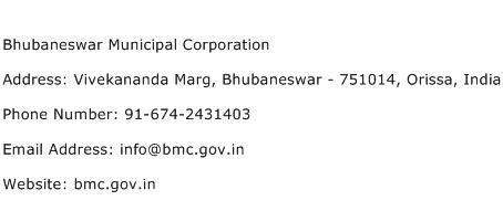 Bhubaneswar Municipal Corporation Address Contact Number