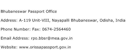 Bhubaneswar Passport Office Address Contact Number