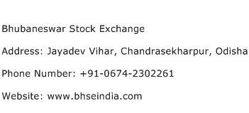 Bhubaneswar Stock Exchange Address Contact Number