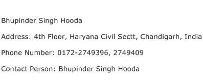 Bhupinder Singh Hooda Address Contact Number