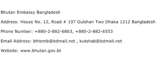 Bhutan Embassy Bangladesh Address Contact Number