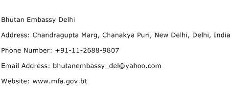 Bhutan Embassy Delhi Address Contact Number
