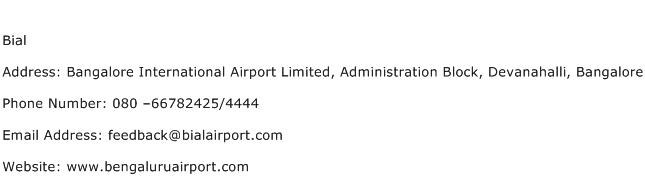 Bial Address Contact Number