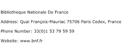 Bibliotheque Nationale De France Address Contact Number