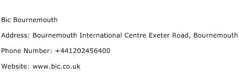 Bic Bournemouth Address Contact Number