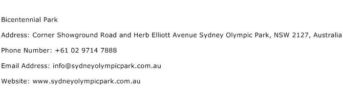 Bicentennial Park Address Contact Number