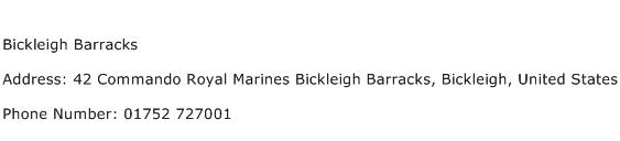 Bickleigh Barracks Address Contact Number