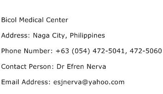 Bicol Medical Center Address Contact Number