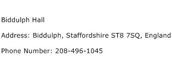 Biddulph Hall Address Contact Number