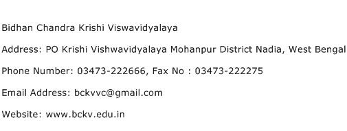 Bidhan Chandra Krishi Viswavidyalaya Address Contact Number