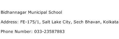 Bidhannagar Municipal School Address Contact Number