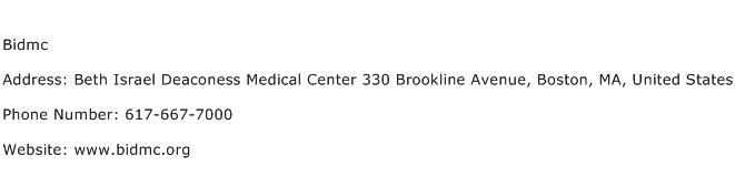 Bidmc Address Contact Number