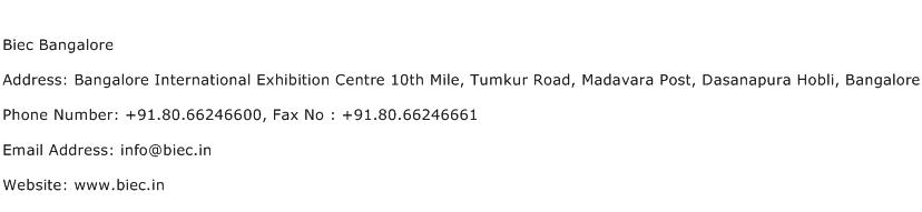 Biec Bangalore Address Contact Number