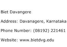 Biet Davangere Address Contact Number