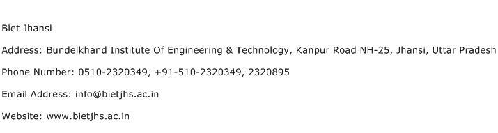 Biet Jhansi Address Contact Number