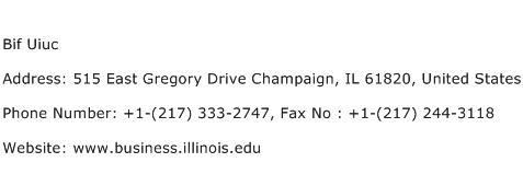 Bif Uiuc Address Contact Number