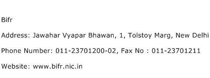 Bifr Address Contact Number