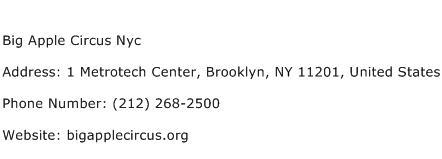 Big Apple Circus Nyc Address Contact Number
