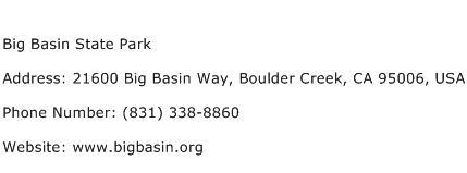 Big Basin State Park Address Contact Number