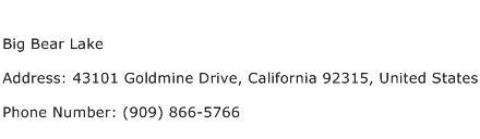 Big Bear Lake Address Contact Number