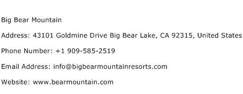 Big Bear Mountain Address Contact Number