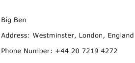 Big Ben Address Contact Number
