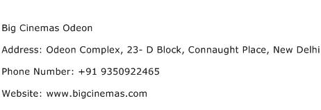 Big Cinemas Odeon Address Contact Number
