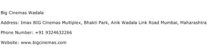 Big Cinemas Wadala Address Contact Number