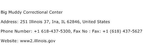 Big Muddy Correctional Center Address Contact Number