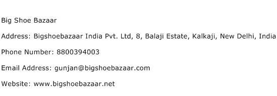 Big Shoe Bazaar Address Contact Number