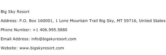 Big Sky Resort Address Contact Number
