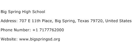 Big Spring High School Address Contact Number