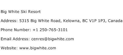 Big White Ski Resort Address Contact Number