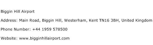 Biggin Hill Airport Address Contact Number