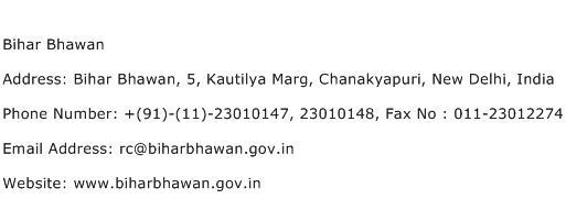 Bihar Bhawan Address Contact Number