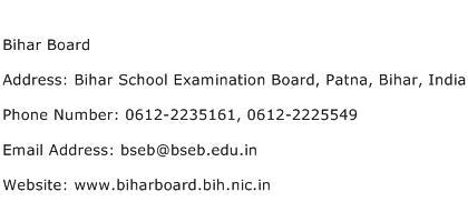 Bihar Board Address Contact Number