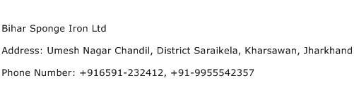 Bihar Sponge Iron Ltd Address Contact Number