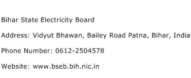 Bihar State Electricity Board Address Contact Number