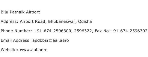 Biju Patnaik Airport Address Contact Number
