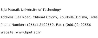 Biju Patnaik University of Technology Address Contact Number