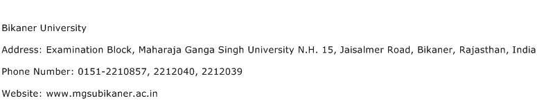 Bikaner University Address Contact Number